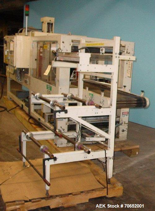 """Used Arpac Model 105TW28 Shrink Wrapper with Film Feed Rack and Splicer. Speed up to 36 Wraps per Minute. 6' L x 20"""" W Rolle..."""