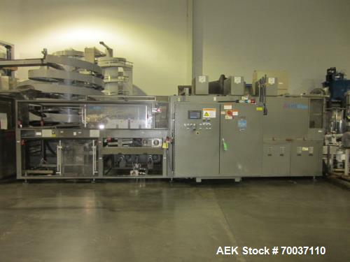 Used- KHS Kisters, Model 601P Tray Shrink Wrap Bundler for printed film with 24 in. x 10 ft. x 15 in. High Shrink Tunnel. Ha...