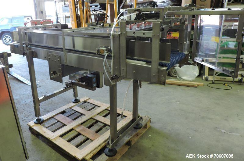 Used- Pester Pewo-Pack Bundler, Model 450 SN. Max product width 550 mm. Max product height 200 mm. Max seal width 450 mm. Ma...