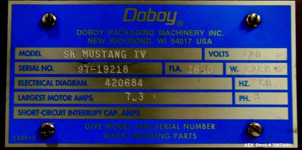 Used- Doboy Model SK Shrink Film Mustang IV Horizontal Wrapper