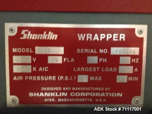 Used- Shanklin Model F-5A Horizontal Side Seal Wrapper. Rated 75 packages per minute and 90 linear feet per minute. Max pack...