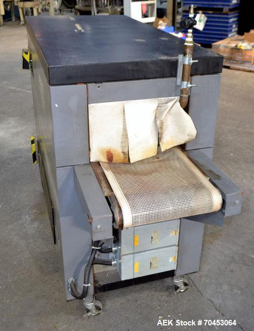 "Used- Besler Model T-15-9-3PH-D Mesh Belt Shrink Tunnel. Machine is capable of speeds up to 198 feet per minute. Has 9"" high..."
