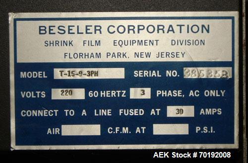 Used- Besler Model T-15-9-3PH Mesh Belt Shrink Tunnel