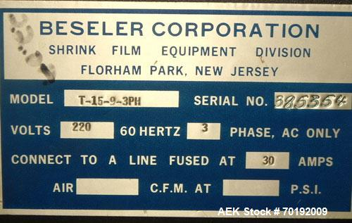 """Used- Besler Model T-15-9-3PH Mesh Belt Shrink Tunnel. Machine is capable of speeds up to 198 feet per minute. Has 9"""" high x..."""