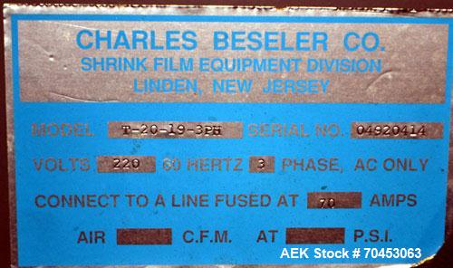 "Used- Besler Model T-20-19-3PH Mesh Belt Shrink Tunnel. Machine is capable of speeds up to 198 feet per minute. Has 9"" high ..."
