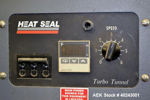 "Used- Heatseal Turbo Shrink Tunnel, Model T4822/8-LDR, Carbon Steel. 48"" Long shrink area. Infeed/discharge opening 22"" wide..."