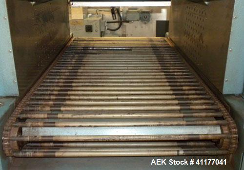"""Used- Rennco Shrink Tunnel, Model 1022, . Tunnel measures 22"""" wide x 10 3/4"""" tall x 36"""" long. Belt measures approximately 22..."""