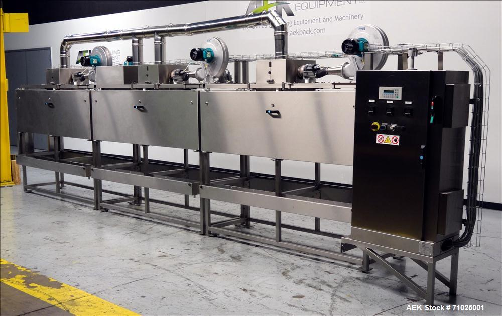 """Used- Sacmi Sleeve Labeling Electric Heat Tunnel. Has 3 zones, each zone has 72"""" long x 4.75"""" tall heater bars, and in/out f..."""