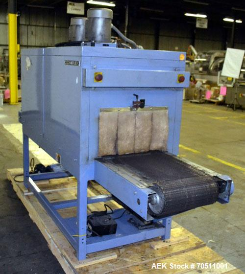 "Used- Shanklin Dual Zone Shrink Tunnel, Model CT62, Carbon Steel. Tunnel passage 10"" high x 18"" wide x 61"" long. 14"" Wide x ..."