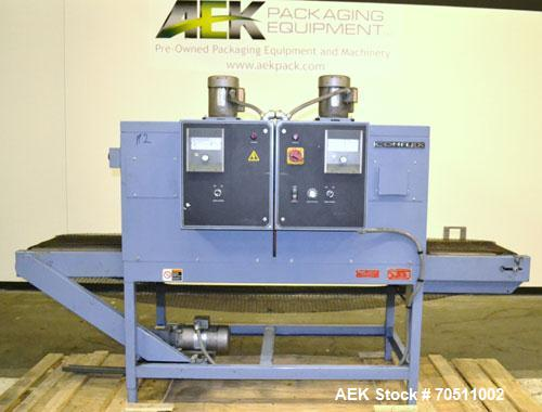 "Used- Shanklin Dual Zone Shrink Tunnel, Model CT62, Carbon Steel.  Tunnel passage 10"" high x 18"" wide x 61"" long. 14"" Wide x..."