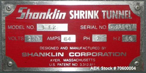 Used- Shanklin Model T-62 Shrink Tunnel