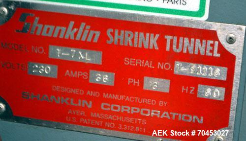 Used- Carbon Steel Shanklin Shrink Tunnel Model T-7XL