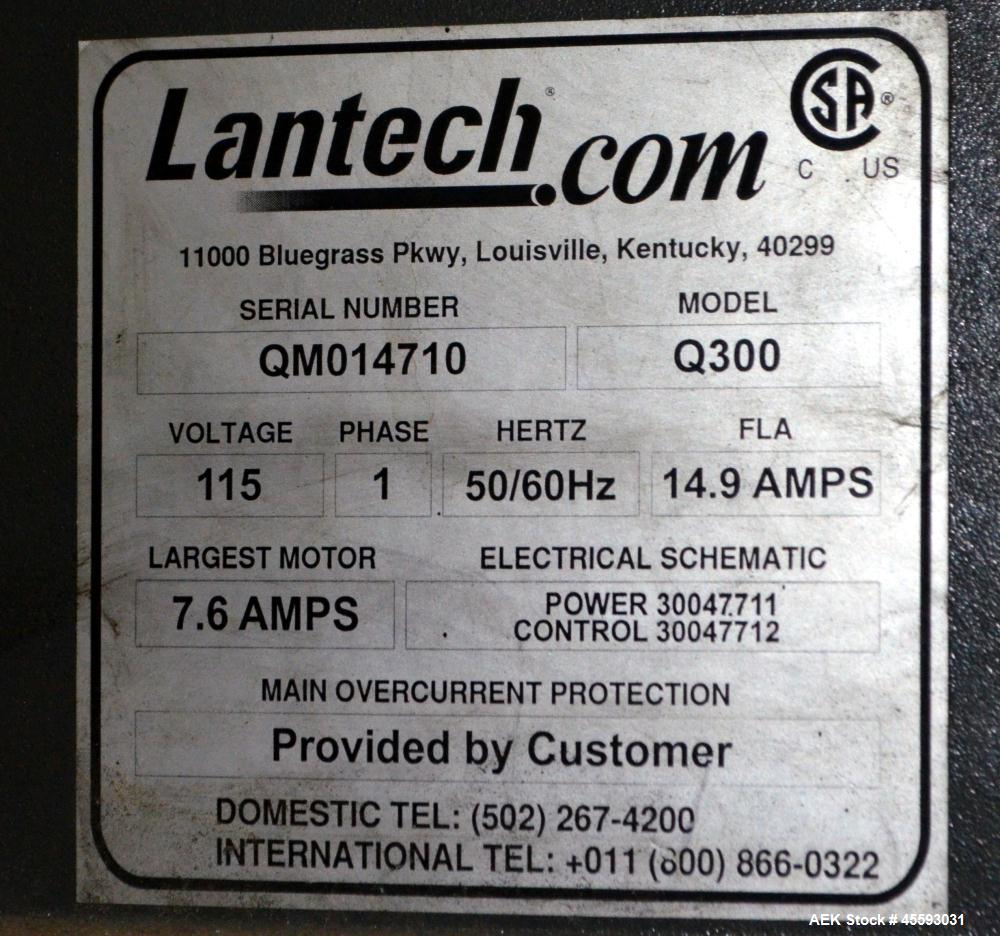 "Used- Lantech Model Q300 Stretch Wrapper. 65"" Diameter turntable. 115 Volt, 14.9 amp, 50/60 hertz. In floor mounted. Serial#..."