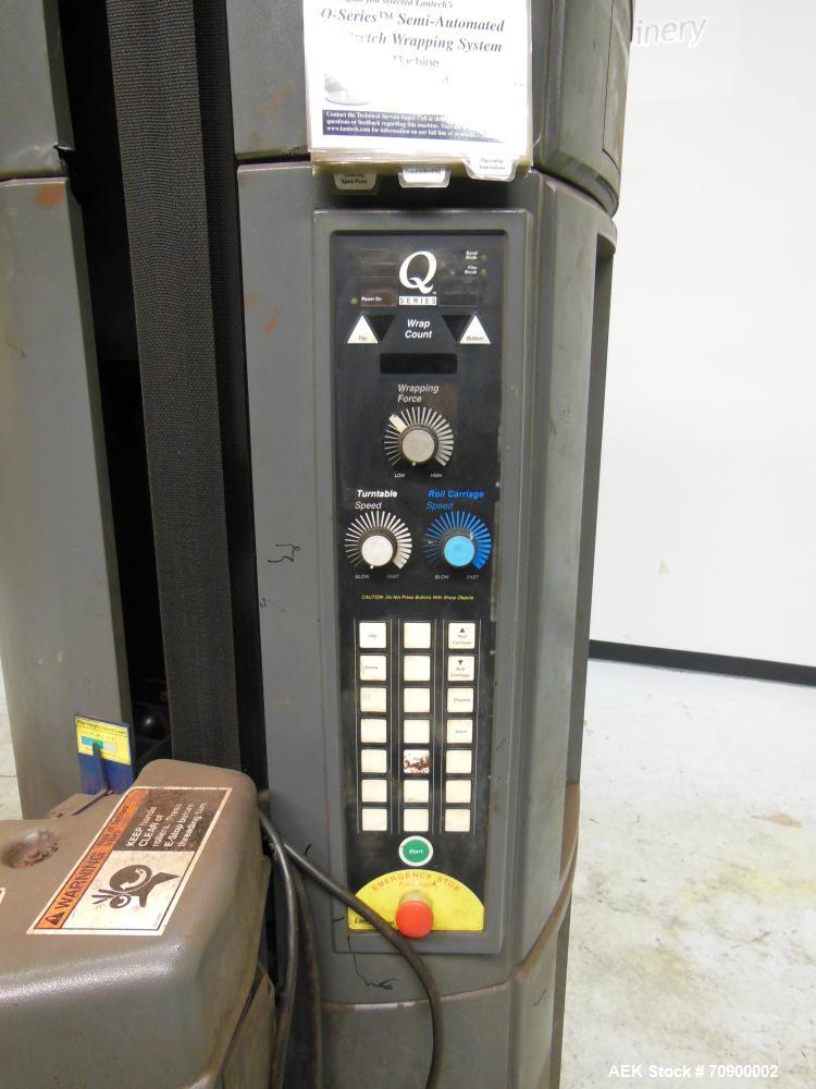 Used- Lantech Q300 semi automatic stretch wrapper. Low Profile unit capable of speeds from 25-35 loads per hour. Maximum loa...