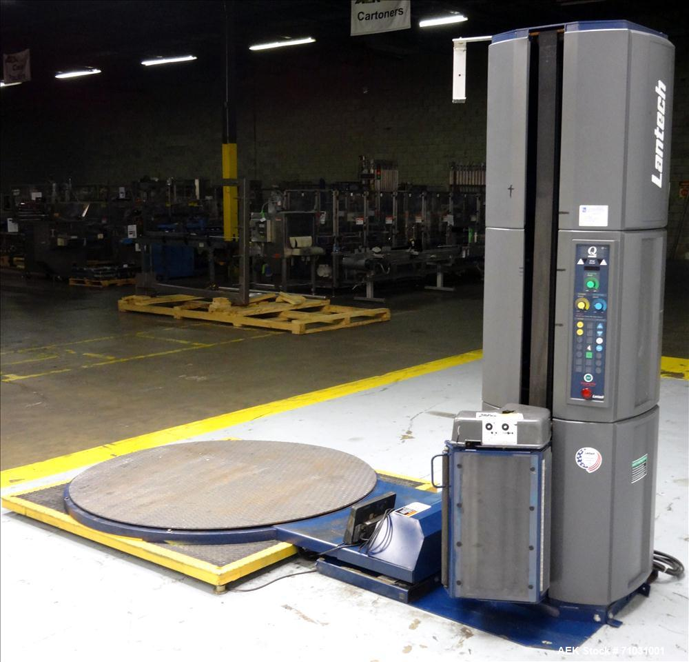 Used- Lantech Q300 Semi-Automatic Pallet Stretch Wrap Machine. Capable of up to 35 loads per hour. Maximum Load: Diagonal: 7...