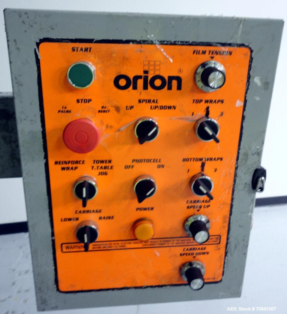 Used- Orion L66/13S Semi Automatic Low Profile Stretch Wrapper. Turntable will do 0 - 14 RPM and is variable speed.  Maximum...