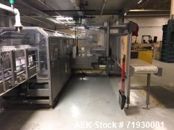 Used- Arpac Traystar Inline, Continuous Motion Gallon Can Tray Packer. Dual lane container infeed to grouping section with f...