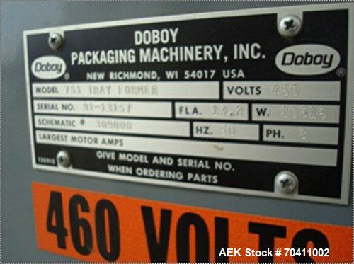 Used- Doboy Delkor T751 Tray Former, Model 751, is a single hed unit.  Single forming head design rated up to 75 trays per m...
