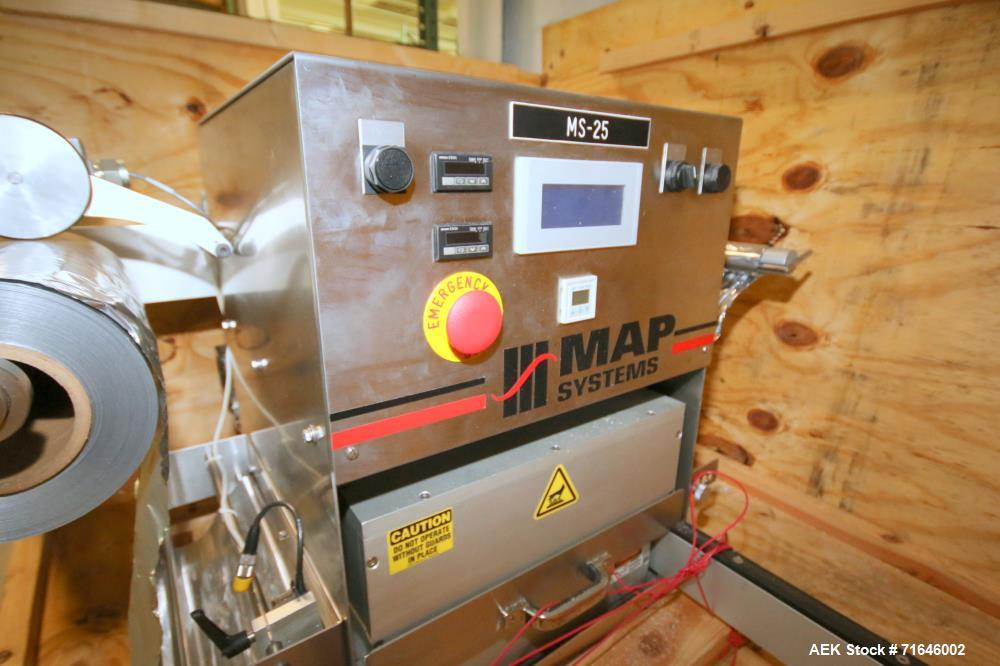 Used-MAP Systems Packaging Film Sealer.  Uses premade tray  and heat sealable film. Model MS25.    Serial # 5250101, Built 1...