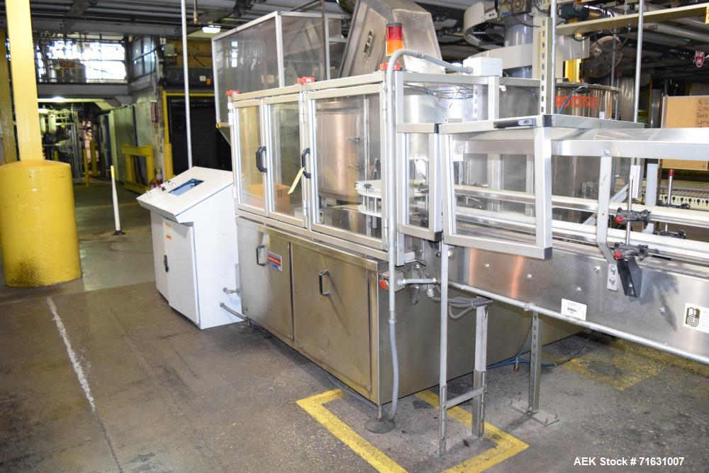 Used-Ronchi Rotomatic Bottle Unscrambler, S/N 1057 with 20' Air Bottle Conveyor and (2) Blowers *Incomplete controls*.