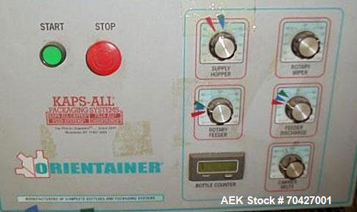 "Used- Kaps-All AU3 Bulk Bottle Unscrambler. Capable of speeds up to 150 bottles per minute. Bottle size range: (height) 1/2""..."