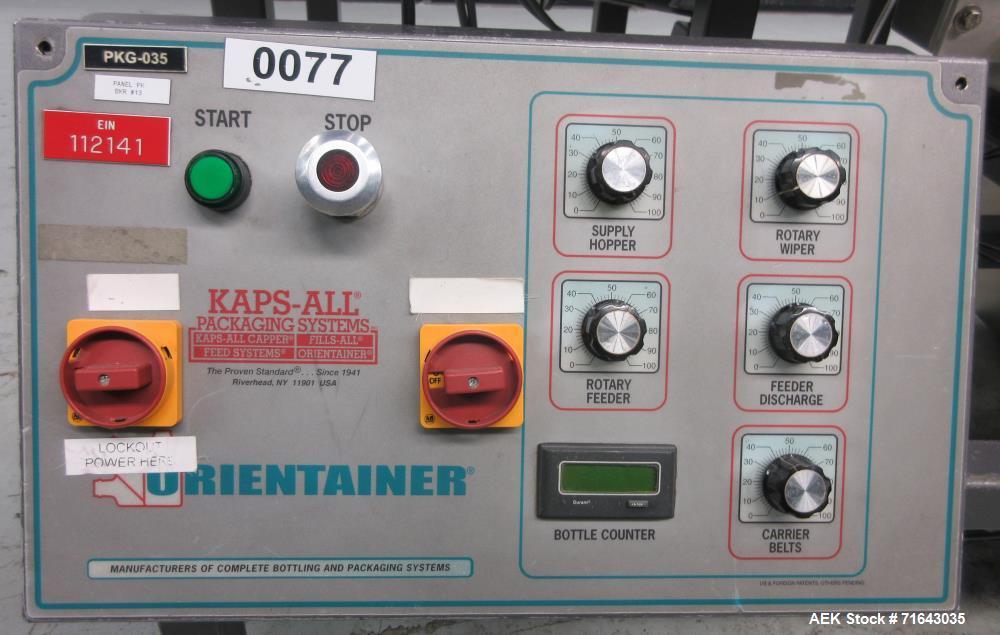 Used- Kaps-All Model AU3C Bulk Bottle Unscrambler