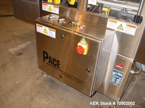 Used- Pace Model BOA5000 Stainless Steel Bottle Orientator. With 20 foot long x 4 1/2 inch wide Delrin chain stainless steel...