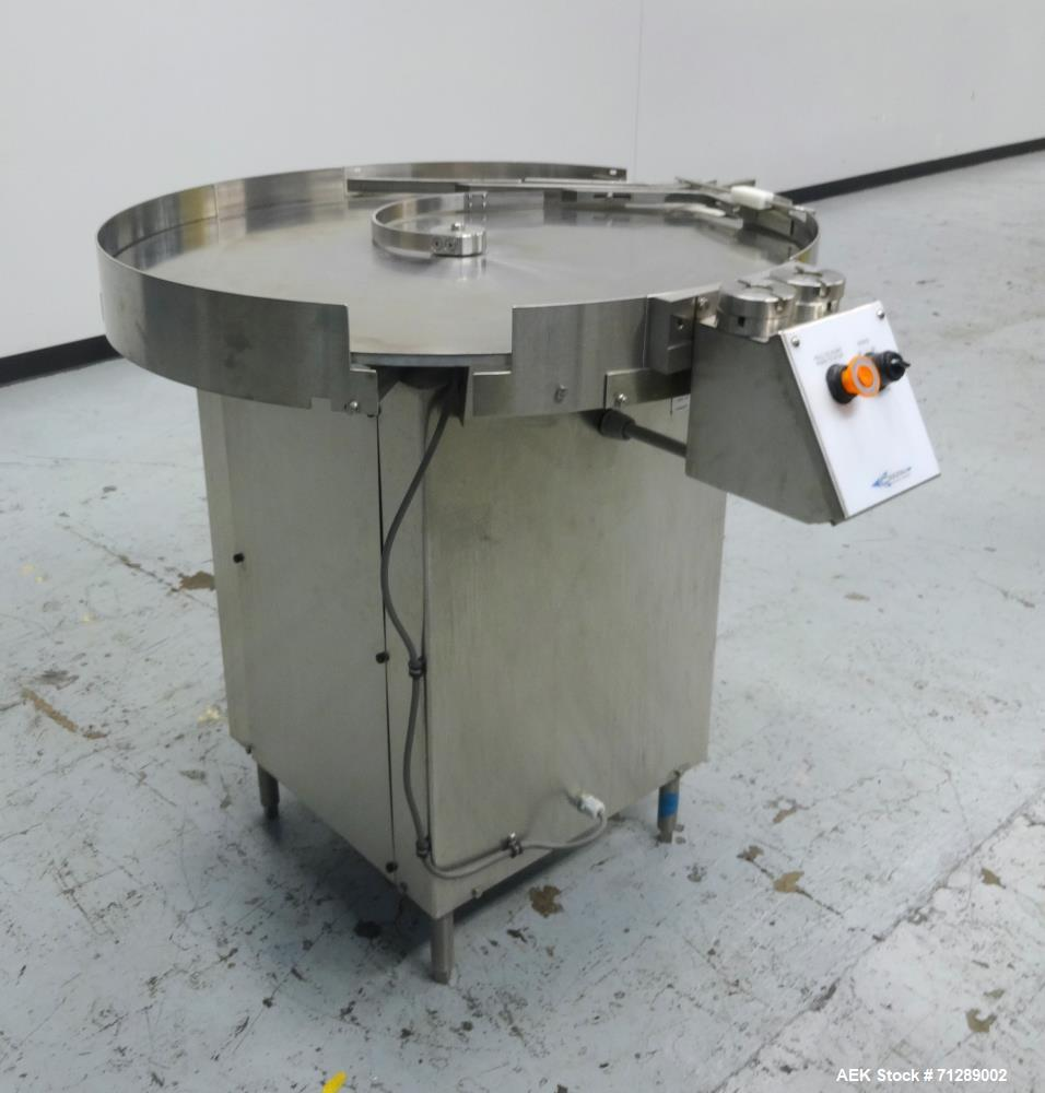 "Used- Cozzoli Machine Company Rotary Unscrambling/Accumulation Table, Model UT-AT36. 36"" Diameter. Has adjustable speed cont..."