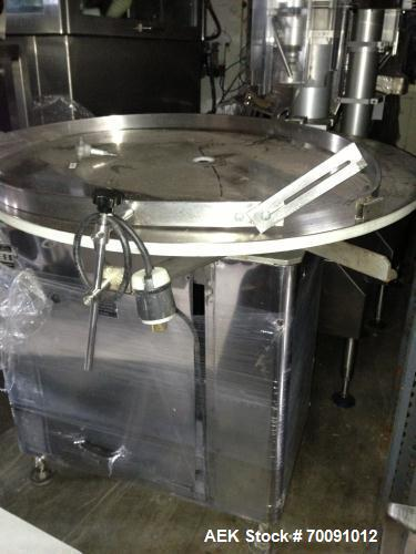 "Used-King Rotary Accumulation Table, Model US3.  36"" Diameter with variable speed controller.  Missing guide rails.  Mounted..."