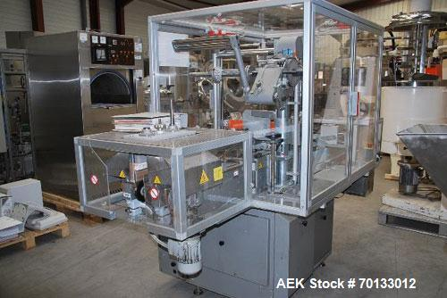 """Used-PRB Automatic Overwrapper, Model FAR 2001, capacity 80 packs/minute.  Equipped with 4' x 4"""" (1200 x 100 mm) dual side P..."""