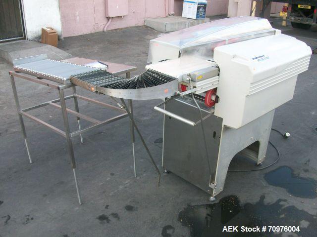 Used-Mettler Toledo Wrapper, Model 645 XL-45, 90 degree conveyor, 3' accumulator table.