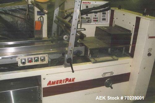 Used-Ameripak Model 140 Horizontal Flow Wrapper, 1 up cross seal jaw at up to 100 ppm. Stainless steel contact parts constru...
