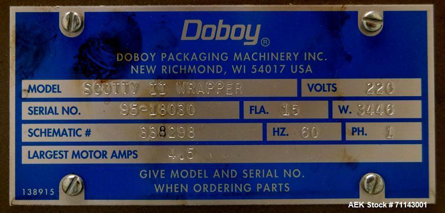 Used- Doboy Model Scotty II Horizontal Flow Wrapper