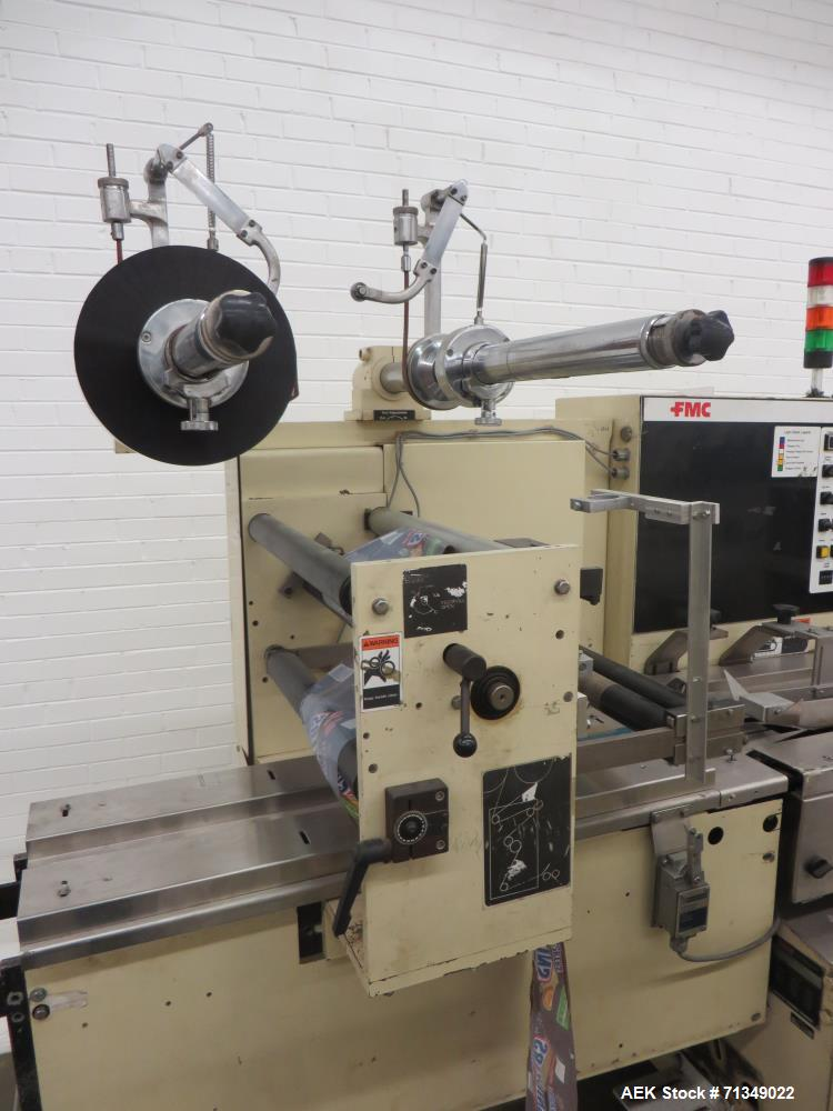 Used-FMC Model WSD-20 Automatic stainless steel Servo Flo horizontal wrapper capable of speeds to 150 packages per minute  d...