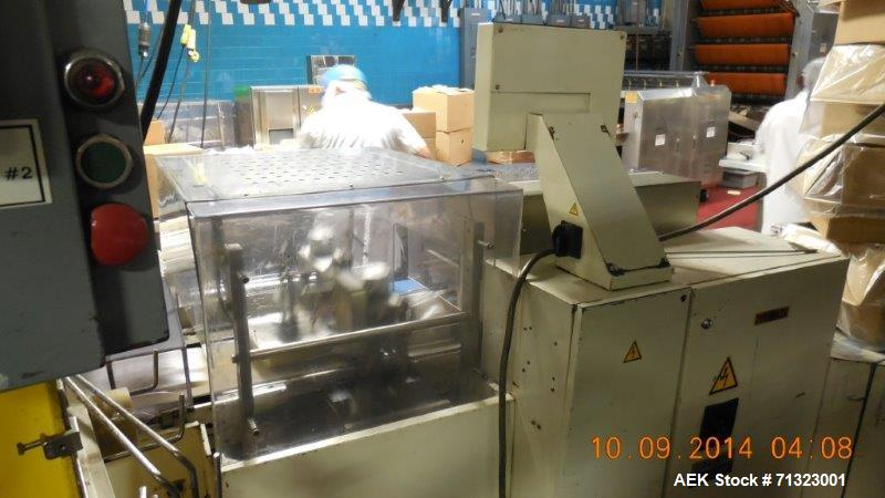 Used- Fuji Model FW3410 BS/B Alpha V Box Motion Inverted Seal Horizontal Long Dwell Wrapper. Capable of speeds from 10-100 p...