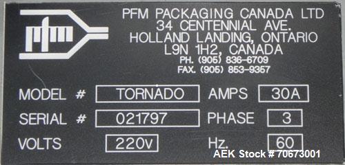 Used- PFM Model Tornado Inverted Seal Horizontal Flow Wrapper