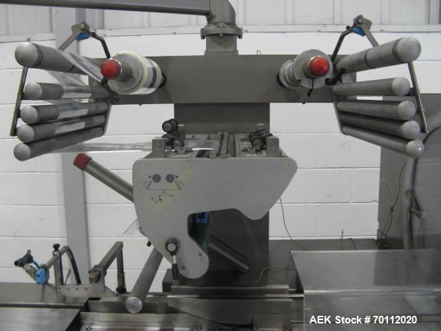 Used- Rose Forgrove Flow Wrapping Machine, Model Integra 602. Stainless steel construction. Speeds up to 150 pieces per minu...