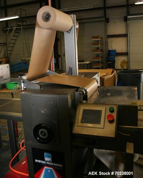 Used-System Packaging 9000-18 Cold Seal Packaging Machine with an infeed barcode scanner, quick change pneumatic spindles, t...