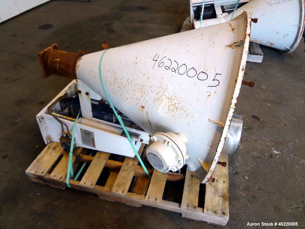 Used-Cincinnati Milacron Extruder  Carbon Steel Crammer Feeder Hoppers  w/ compressed air lift device.