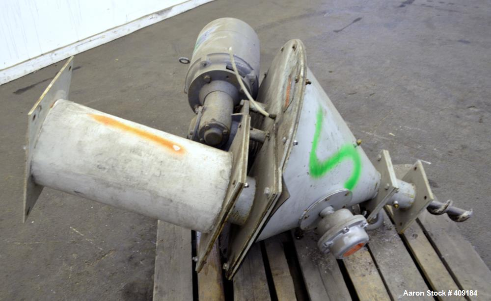 "Used- Foremost Crammer Feeder, Model CF1A, Carbon Steel. Coned hopper approximate 32"" diameter x 18"" deep. Approximate 3"" di..."