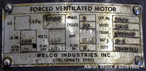 "Used- Modern Plastics Machinery Crammer Feeder, Carbon Steel. Approximate 30"" diameter x 20"" deep hopper, 2"" diameter screw...."