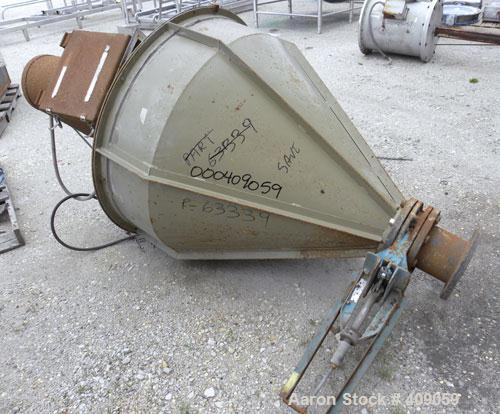 """Used- Crammer Feeder, Carbon Steel. Approximate 40"""" diameter x 10"""" straight side x 33"""" coned bottom. 2"""" diameter shaft, driv..."""