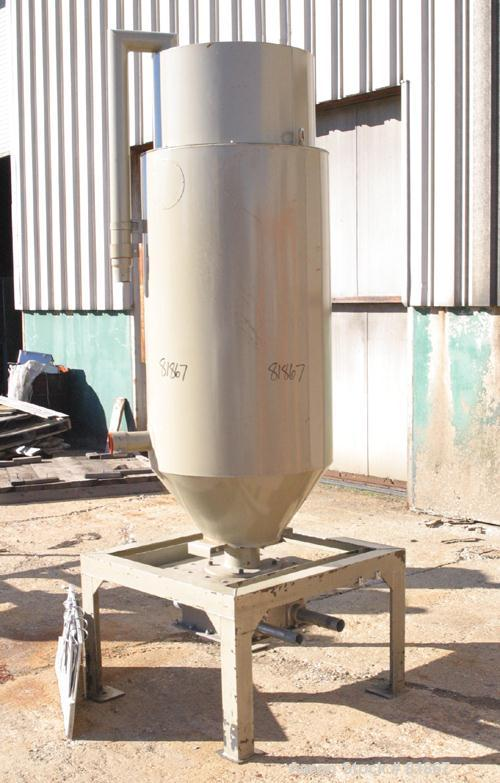 """USED: Conair insulated dry hopper, model 1805390300. Approximate 12 cubic foot capacity, carbon steel. 26"""" diameter x 46"""" st..."""