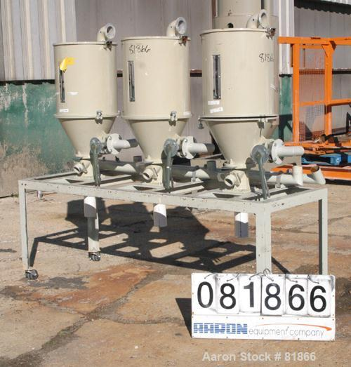 "USED: Conair insulated dry hopper system consisting of 3 approx      4 cu ft hoppers, 16"" diameter x 20"" straight side x con..."