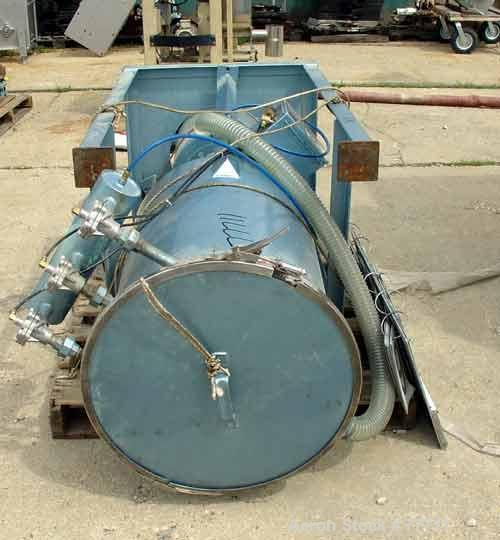 "Used- LR Systems Receiving Hopper With Filter, Approximately 5.4 Cubic Feet, Carbon Steel. 20"" Diameter x 30"" long x 20"" con..."
