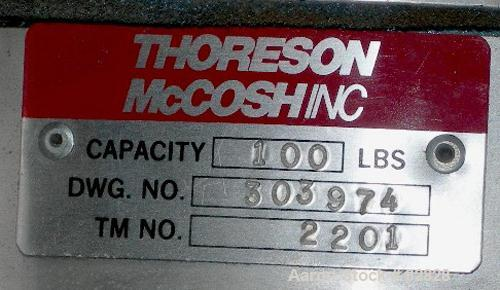 USED: Thorsen McCosh insulated drying hopper, 100 pound capacity. Includes a color feeder with hopper.
