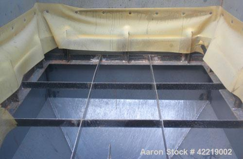 """Used- NBE Dry Bulk Storage Hopper, approximately 40 cubic feet, carbon steel. 44"""" wide x 44"""" long x 18"""" deep x coned bottom...."""
