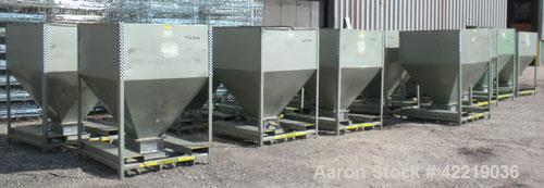 "Used- NBE Dry Bulk Storage Hopper, approximately 50 cubic feet, carbon steel. 48"" wide x 48"" long x coned bottom. Approximat..."