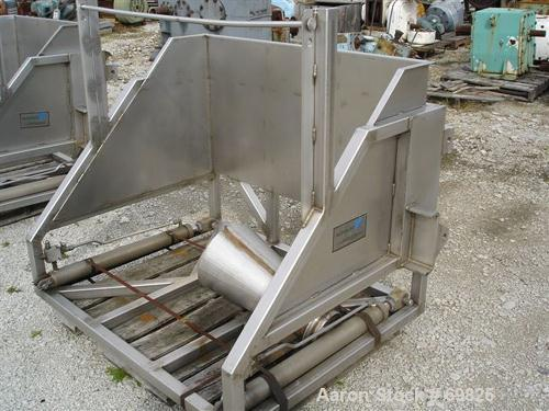 "Used- Allen Machinery Dual Station Hydraulic Tote Dumper, Model D40112, 304 Stainless Steel. (2) 50"" wide x 42"" long dual ra..."