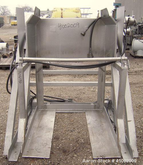 """Used- Apache Stainless Box Dumper, 304 Stainless Steel. Dump area 42"""" wide x 49"""" deep x 54"""" high. Dual ram, hydraulically dr..."""